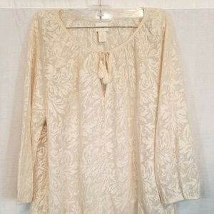 Chico's Ivory Gold Semi Sheer Blouse Top 1 S